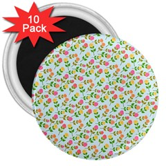 Flowers Roses Floral Flowery 3  Magnets (10 pack)