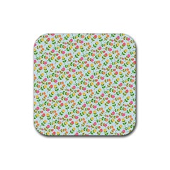 Flowers Roses Floral Flowery Rubber Coaster (square)
