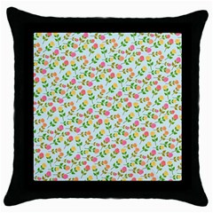 Flowers Roses Floral Flowery Throw Pillow Case (black)