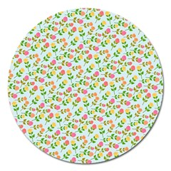Flowers Roses Floral Flowery Magnet 5  (round)