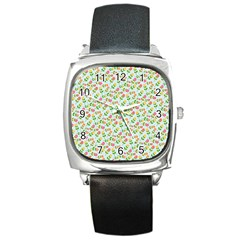 Flowers Roses Floral Flowery Square Metal Watch