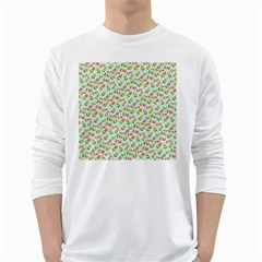 Flowers Roses Floral Flowery White Long Sleeve T Shirts