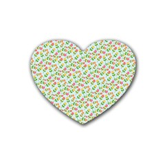 Flowers Roses Floral Flowery Heart Coaster (4 pack)