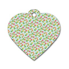 Flowers Roses Floral Flowery Dog Tag Heart (one Side)