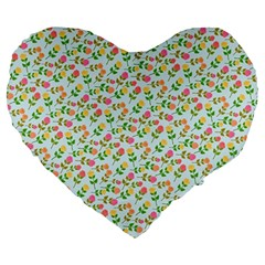 Flowers Roses Floral Flowery Large 19  Premium Heart Shape Cushions