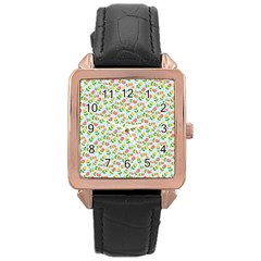 Flowers Roses Floral Flowery Rose Gold Leather Watch