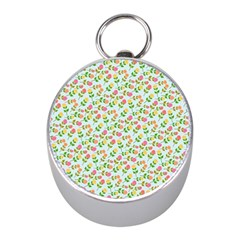 Flowers Roses Floral Flowery Mini Silver Compasses