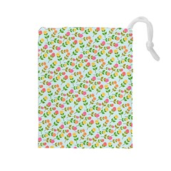 Flowers Roses Floral Flowery Drawstring Pouches (large)