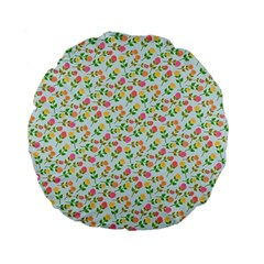 Flowers Roses Floral Flowery Standard 15  Premium Flano Round Cushions