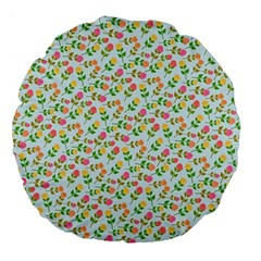 Flowers Roses Floral Flowery Large 18  Premium Flano Round Cushions