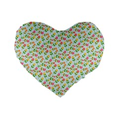 Flowers Roses Floral Flowery Standard 16  Premium Flano Heart Shape Cushions