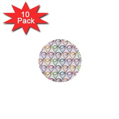 Valentine Hearts 3d Valentine S Day 1  Mini Buttons (10 Pack)