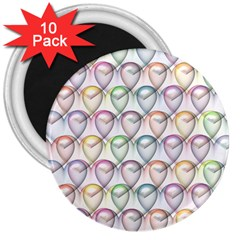 Valentine Hearts 3d Valentine S Day 3  Magnets (10 pack)