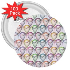 Valentine Hearts 3d Valentine S Day 3  Buttons (100 pack)