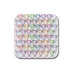 Valentine Hearts 3d Valentine S Day Rubber Square Coaster (4 Pack)