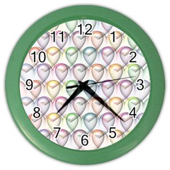 Valentine Hearts 3d Valentine S Day Color Wall Clocks