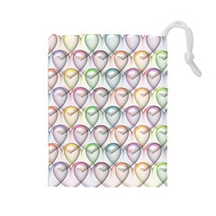 Valentine Hearts 3d Valentine S Day Drawstring Pouches (Large)