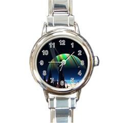 Planets In Space Stars Round Italian Charm Watch