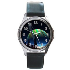 Planets In Space Stars Round Metal Watch