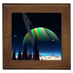 Planets In Space Stars Framed Tiles