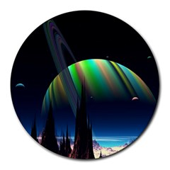 Planets In Space Stars Round Mousepads