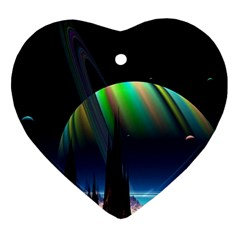 Planets In Space Stars Ornament (heart)