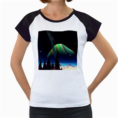 Planets In Space Stars Women s Cap Sleeve T
