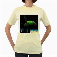 Planets In Space Stars Women s Yellow T Shirt