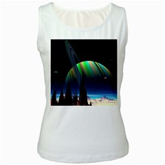 Planets In Space Stars Women s White Tank Top