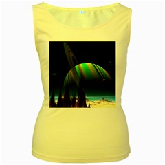 Planets In Space Stars Women s Yellow Tank Top