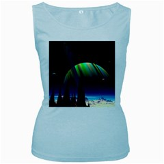 Planets In Space Stars Women s Baby Blue Tank Top