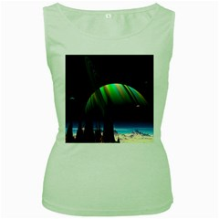 Planets In Space Stars Women s Green Tank Top
