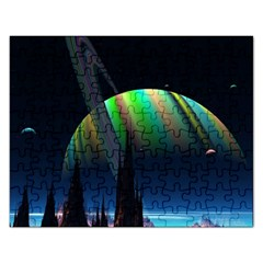 Planets In Space Stars Rectangular Jigsaw Puzzl