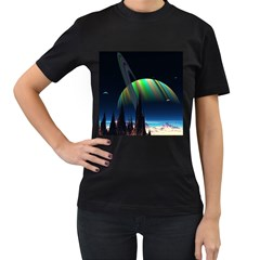Planets In Space Stars Women s T Shirt (black) (two Sided)