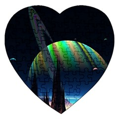 Planets In Space Stars Jigsaw Puzzle (heart)