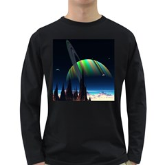 Planets In Space Stars Long Sleeve Dark T Shirts