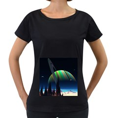 Planets In Space Stars Women s Loose-Fit T-Shirt (Black)