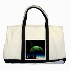 Planets In Space Stars Two Tone Tote Bag
