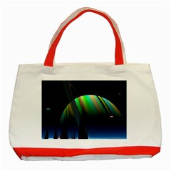 Planets In Space Stars Classic Tote Bag (red)