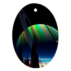 Planets In Space Stars Oval Ornament (two Sides)