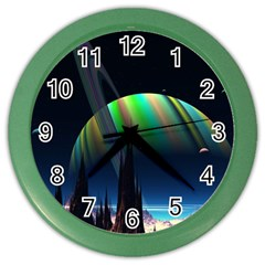 Planets In Space Stars Color Wall Clocks