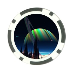 Planets In Space Stars Poker Chip Card Guard