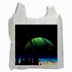 Planets In Space Stars Recycle Bag (one Side)