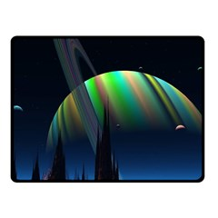 Planets In Space Stars Fleece Blanket (small)