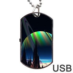 Planets In Space Stars Dog Tag Usb Flash (one Side)