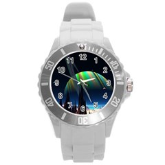 Planets In Space Stars Round Plastic Sport Watch (L)