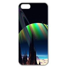 Planets In Space Stars Apple Seamless Iphone 5 Case (clear)
