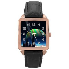 Planets In Space Stars Rose Gold Leather Watch
