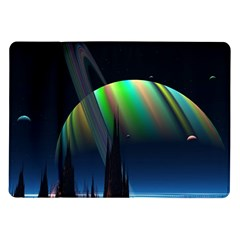 Planets In Space Stars Samsung Galaxy Tab 10 1  P7500 Flip Case