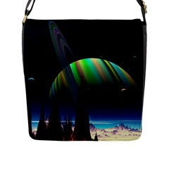 Planets In Space Stars Flap Messenger Bag (l)